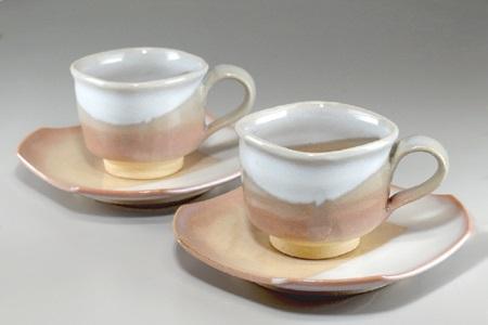 [№5226-0330]萩焼 コーヒーカップ・ペア(四角)