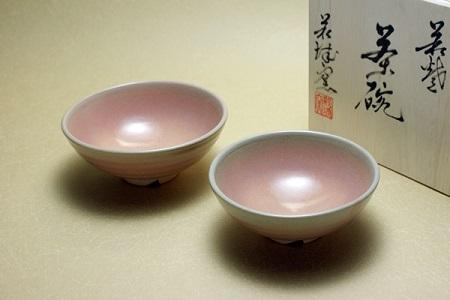 [№5226-0047]萩焼 夫婦茶碗(ベージュ系)