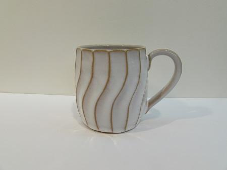 [№5226-0127]萩焼 萩白釉しのぎマグカップ
