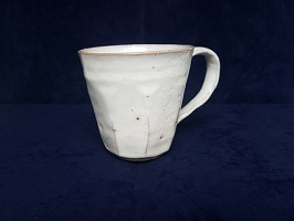 [№5226-0002]萩焼 8代佳炎作  刃刻マグカップ