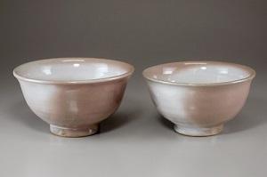[№5226-0325]萩焼 窯変夫婦ご飯茶碗