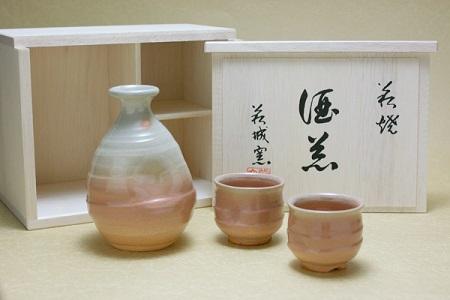 [№5226-0048]萩焼 酒器 徳利・ぐい呑みセット