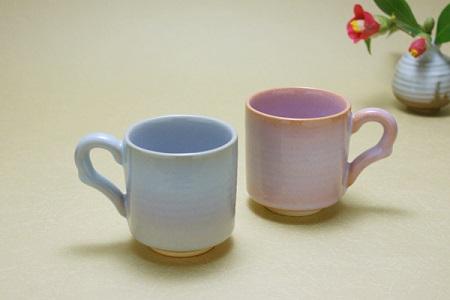 [№5226-0051]萩焼 ペア マグカップ(ブルー系・ピンク系)