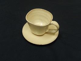 [№5226-0015]萩焼 8代佳炎作  白萩コーヒーセット(角)