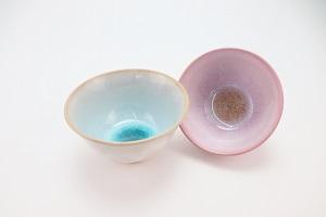 [№5226-0166]萩焼・ガラス釉 ペア飯碗