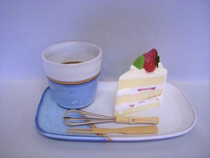 [№5226-0111]萩焼 カップ&プレート皿セット(藍)
