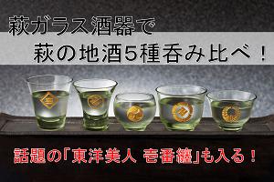 【祝・明治維新150年】維新の志士家紋入り萩ガラス酒器と萩の地酒5種呑み比べセット