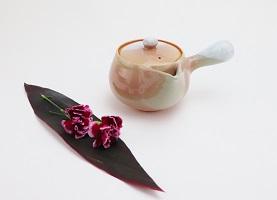 [№5226-0171]萩焼 茶こし付 急須(大)