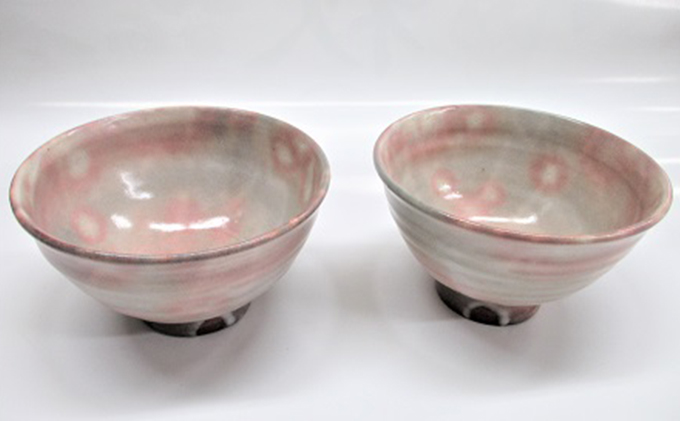 [№5226-0020]萩焼 8代佳炎作  ペア化粧飯茶碗