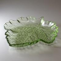 萩ガラス 玄武岩 木の葉大皿